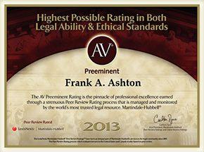 AV Preeminent Rating 2013 - Frank Ashton