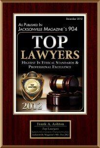 Frank Ashton in Jacksonville Top Lawyers Magazine's 904